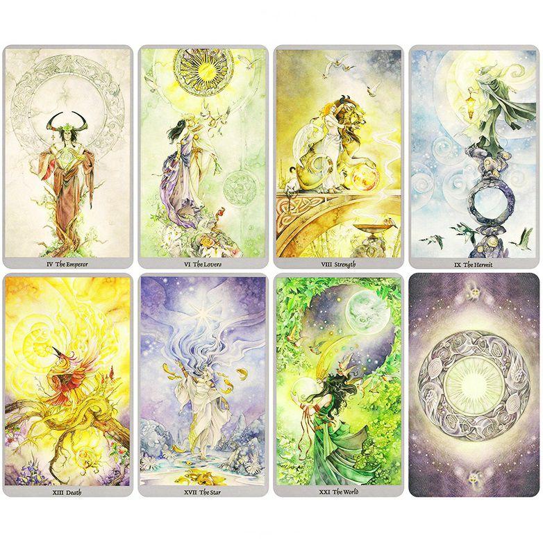 1 Shadowscape tarot bài tarot theo phong cách hội họa màu nước nội dung pha trộn giữa nhiều chủ đề Châu Á Celtic và giả tưởng đồng thời lấy cảm hứng từ những câu chuyện cổ tích thần thoại và truyền thuyt dân gian từ các nền văn hóa khắp nơ