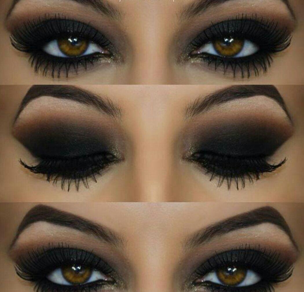 Яркий макияж с темными тенями