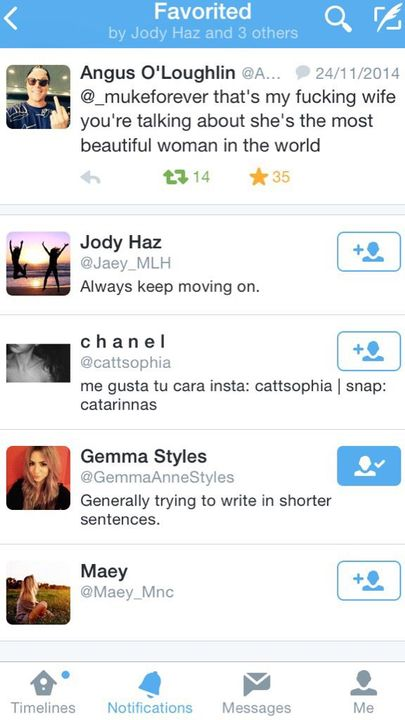 "To which Gemma then see's on Twitter and ""likes"""