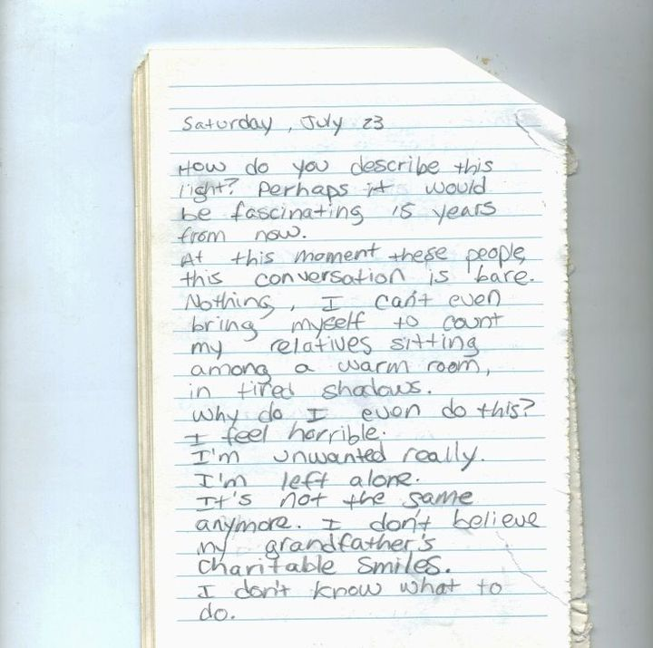 Someone wakes up and someone writes a page in a secret diary that reads like this: