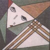 Face and handkerchief are caught in a pattern of lines and surfaces, displayed on the canvas