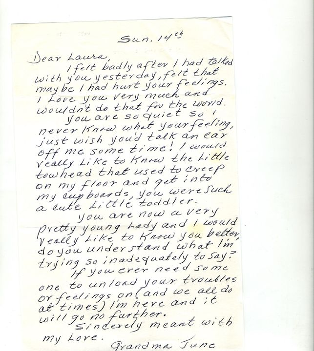 Her grandmother sent her a letter recently that read: