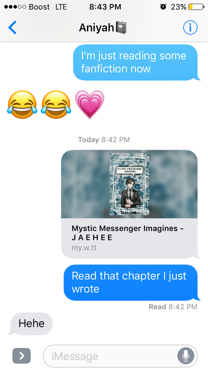 I just sent my friend the link to my most depressing chapter in my mystic messenger fanfic lololol rip to her