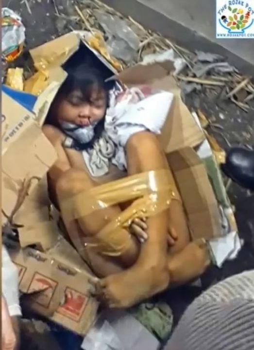 Katil, kızın çıplak vücudunu çöp bidonun içine atmadan önce kartondan bir paketin içine yerleştirerek, şerit bant ile paketi kapatarak saklamayı amaçlamıştı