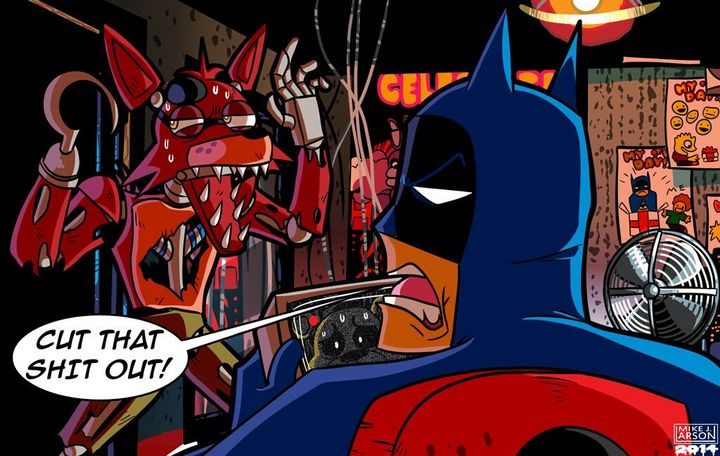 *Batman is playing fnaf and forgets to check up on Foxy who runs down the corridor and gets into the office*