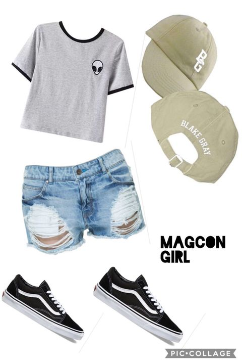 I wore a cute grey crop top with ripped denim shorts, my old skool vans and a Blake Gray cap that Blake gave to me