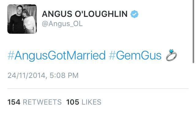3- Angus tweets about getting married