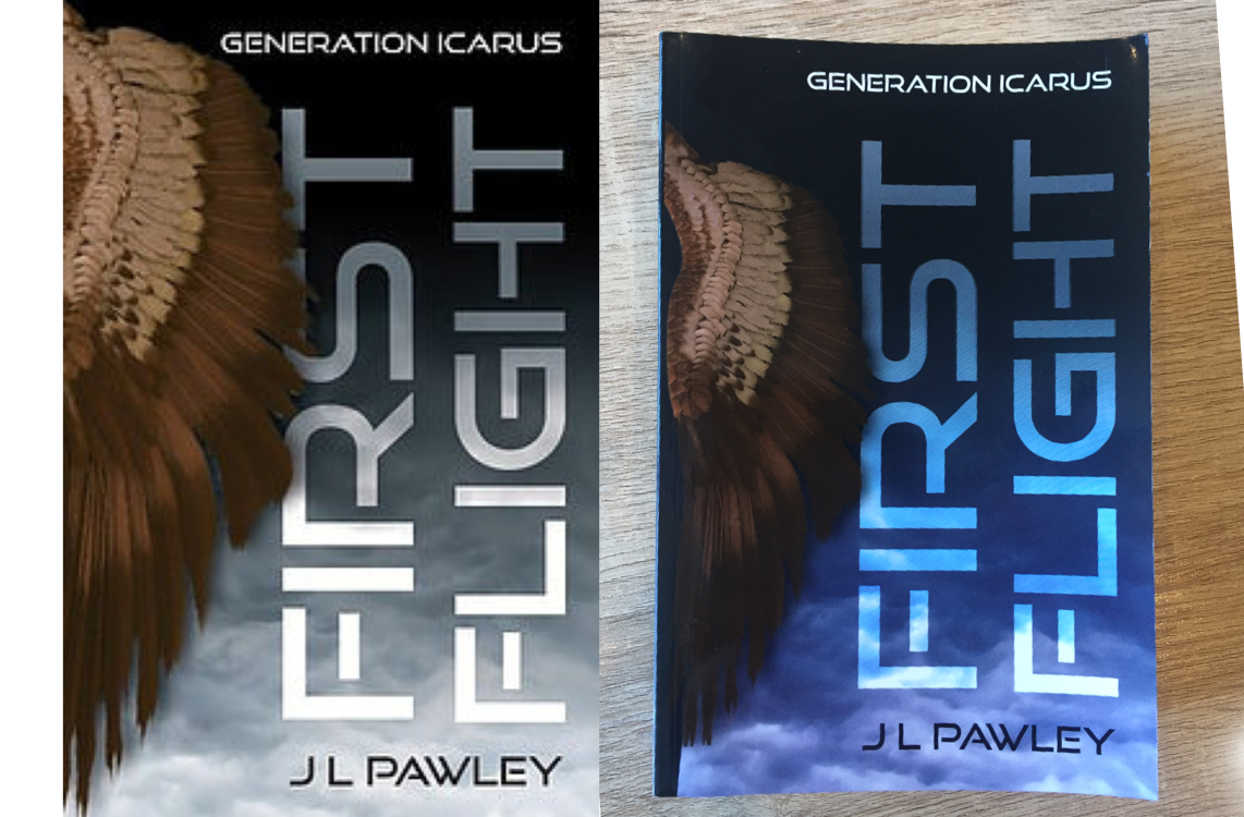 Digital proof on the left; actual copy on the right