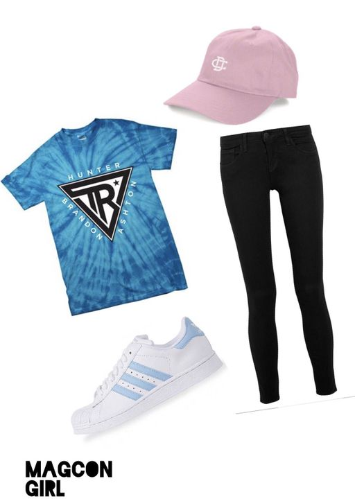 I decided to wear my Rowland t-shirt tucked into black jeans, with baby blue adidas superstars and my Cameron Dallas cap