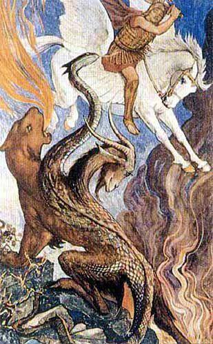 Hay varias descripciones de su muerte: algunas dicen simplemente que Belerofonte la atravesó con su lanza, mientras que otras sostienen que la mató cubriendo la punta de la lanza con plomo que se fundió al ser expuesto a la ardiente respiración d...