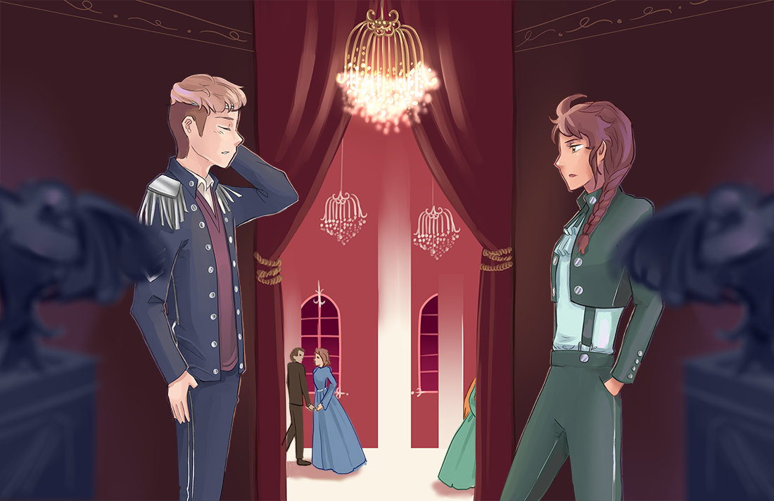 """What are you doing back here?"" Iona asks Prince Cyan, surprised to find him hiding out in a hallway"