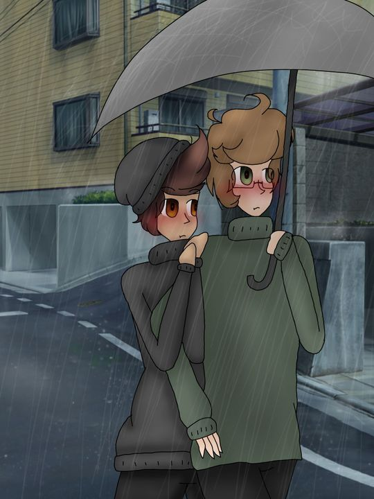 They both went outside under Darryl's umbrella, on their way to the Café
