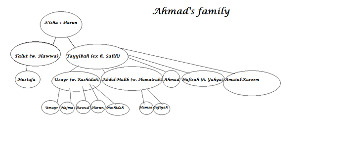 Anyways, here is Ahmad's family tree (because those characters get a little more focus overall), and then both MC's family trees