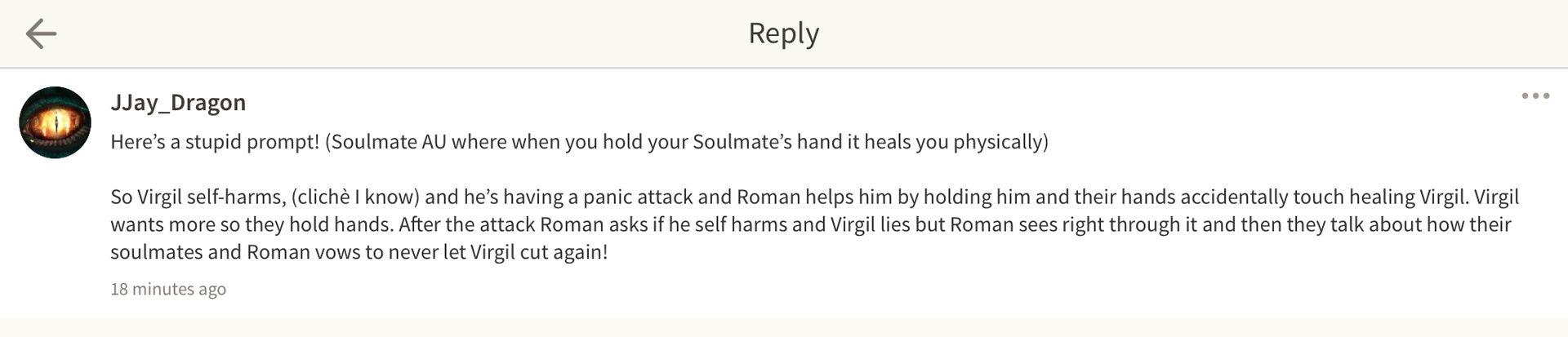 Thomas Sanders Sides OneShots 2 - Soulmates - Roman x Virgil