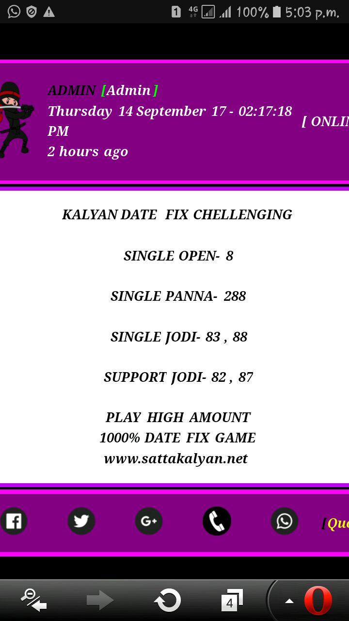 WWW SATTKALYAN NET - 14/09/2017 Kalyan date fix single panna 288