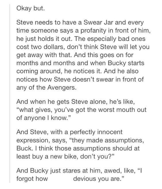 Avenger's One-shots and Preferences - Swear Jar- Steve