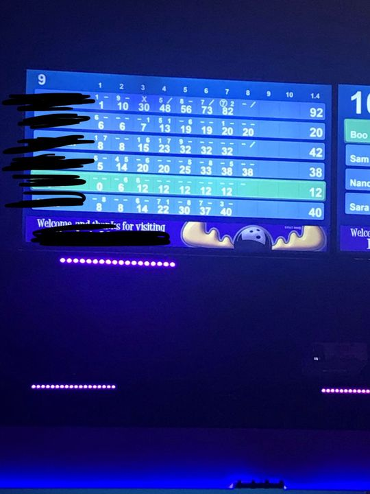 Going Bowling (I'm the one with 38) haha I suck at bowling