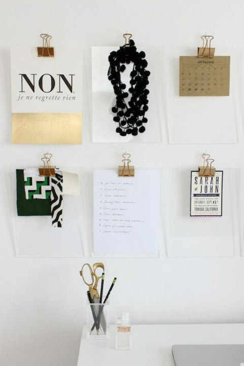 (c) Use push-pins and binder clips and hang the photos up