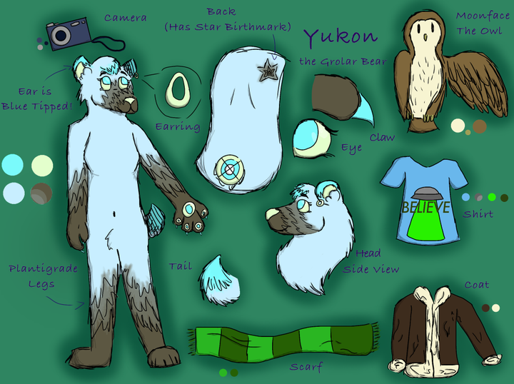This is Yukon Jones, my fursona! She is a grolar bear, which is a hybrid of a grizzly and polar bear