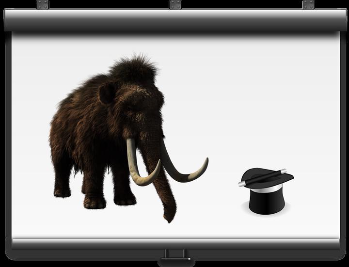 La luce di un proiettore illumina il buio e l'immagine di un mammut compare sullo sfondo