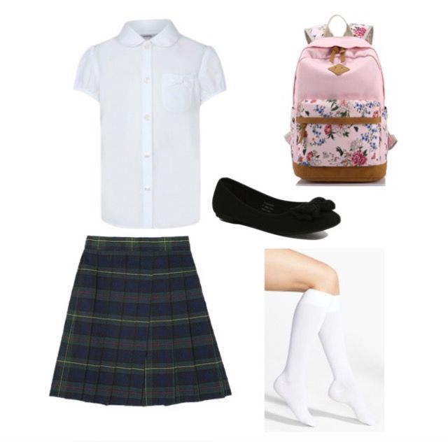 They all had on white blouses, knee high socks, flats or Mary Janes, and green plaid school girl skirts