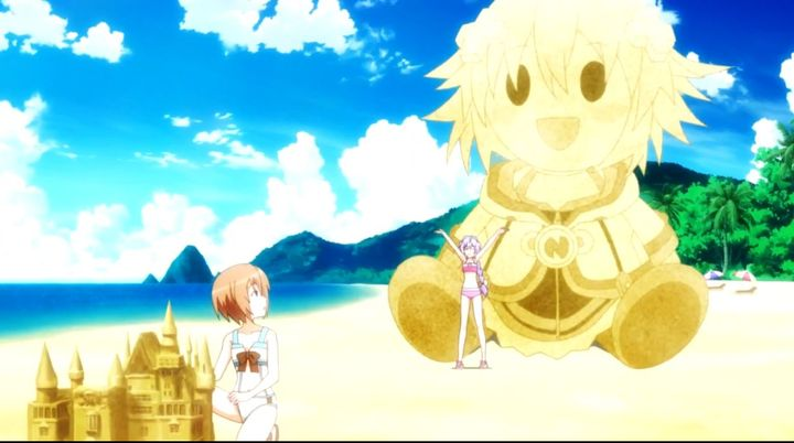 She made a giant sand plushie doll of Neptune