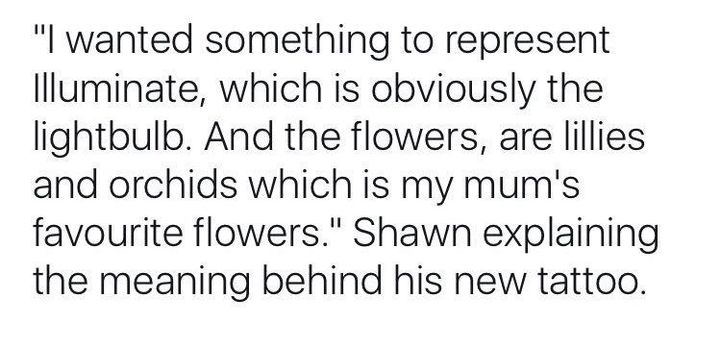 He also said that the flowers are blue because that is the main color of the whole Illuminate tour theme