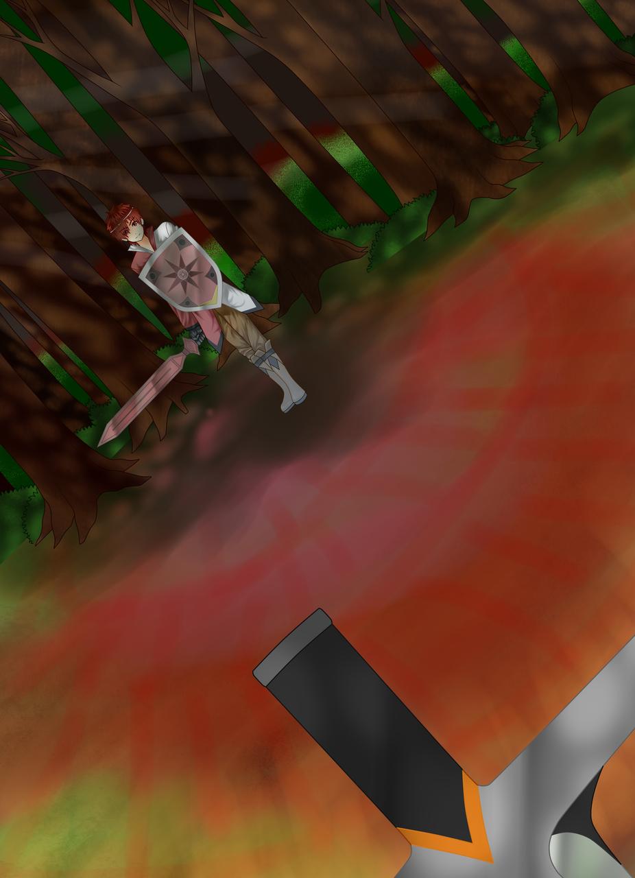 """""""Kemana perginya kepercayaan dirimu itu? Ayo serang aku, Ramdhan!"""" Sementara aku bersembunyi diantara pepohonan, Hitter menghampiri pedangku"""