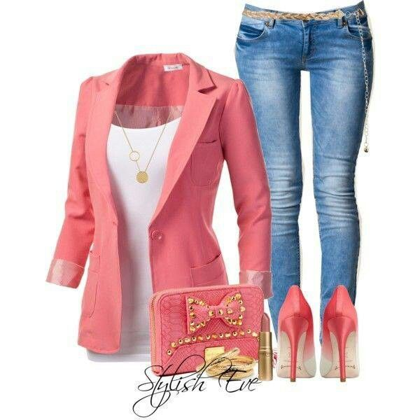 """""""Damn"""" braking out of my daze I quickly looked at the outfit instantly loving it it consisted of some blue jeans, my pink vest coat , and some pink heels I looked at myself in the mirror """" wow besfrann got style"""""""
