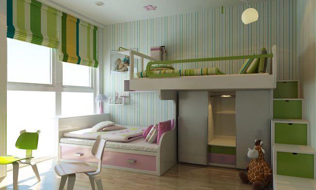 Phòng với 2 màu xanh lá cây và hồng nhạt tạo cảm giác khác biệt