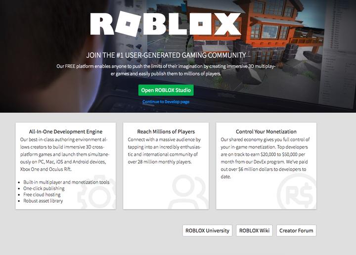 roblox develop page