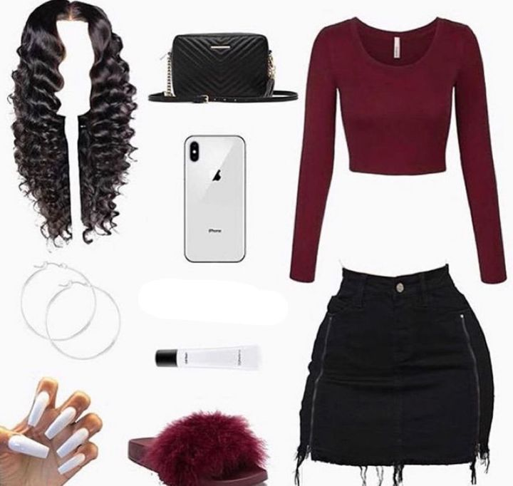 as i walked over to my dresser i pulled out a my black jean skirt and my burgundy crop top with my burgundy slides