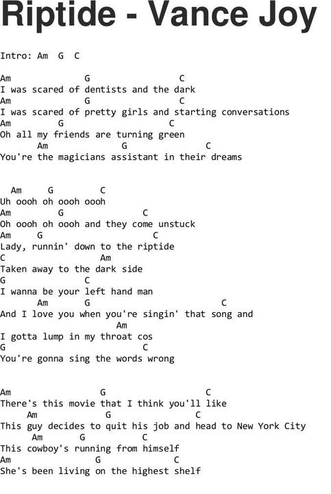 Chords Lyrics Ukulele Piano Guitar Whatever Riptide