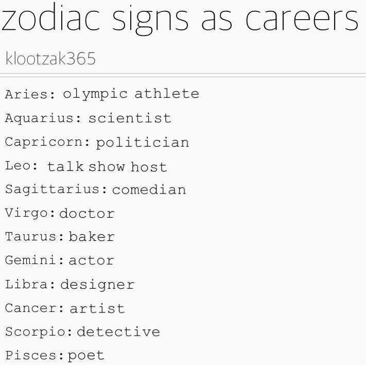 Zodiac Signs - Zodiac Signs as Careers - Wattpad