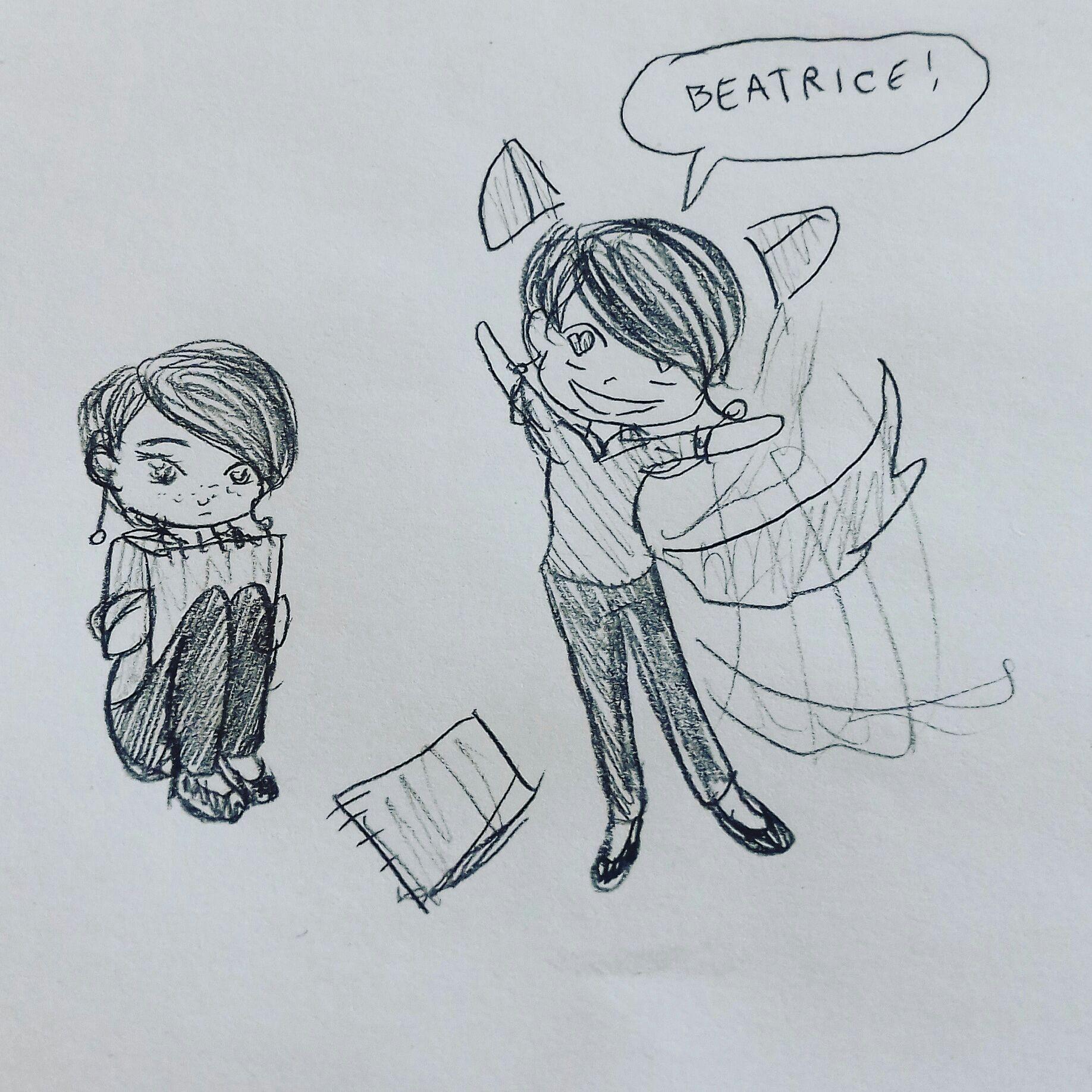 Gdy Beatrice oddaliła się, Nowa wciąż się za nią oglądała