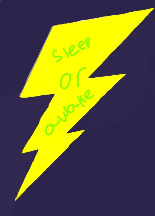 There was a words that said sleep or awake and then a yellow thunderbolt behind the words