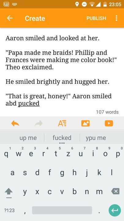 """""""That is great, honey!"""" Aaron smiled and picked 6 year old"""