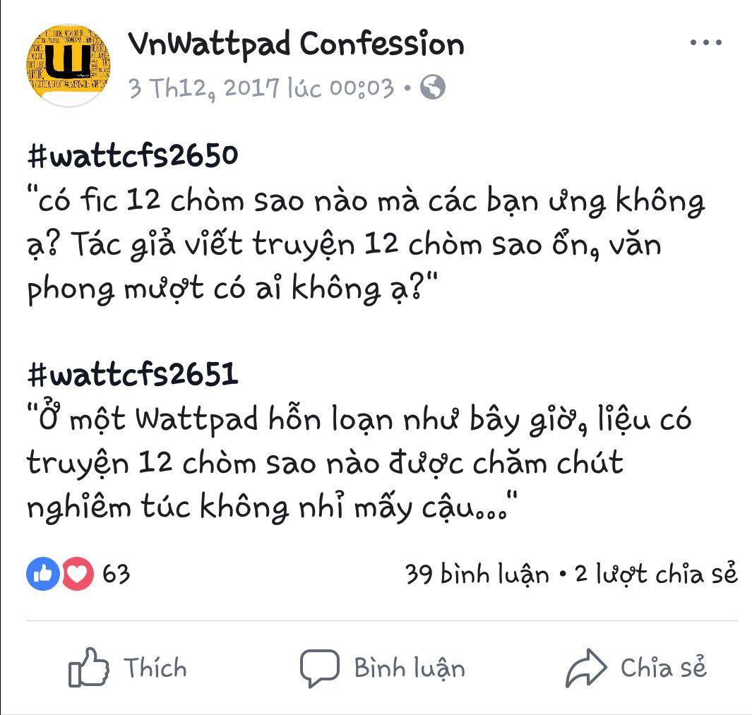Chuyện là, một hôm lướt trên trang Confession của wattpadvn