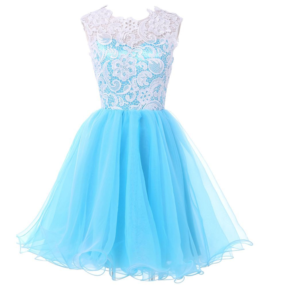 I also came across a light blue dress with a white lace covering the top