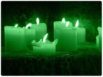 Зелёное пламя толстых белых свечей отражалось в полированной чёрной столешнице и заставляло десятки расставленных на ней сосудов таинственно мерцать