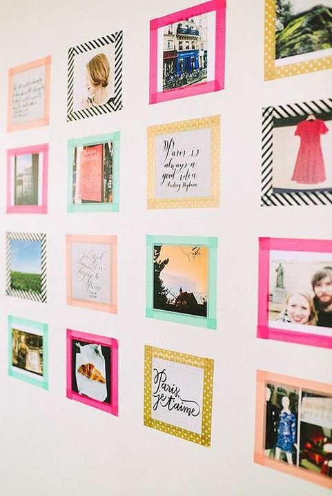 (b) Use washi tape to border around the photo and tape it to the wall // or you can just                             tape it onto the wall without the border