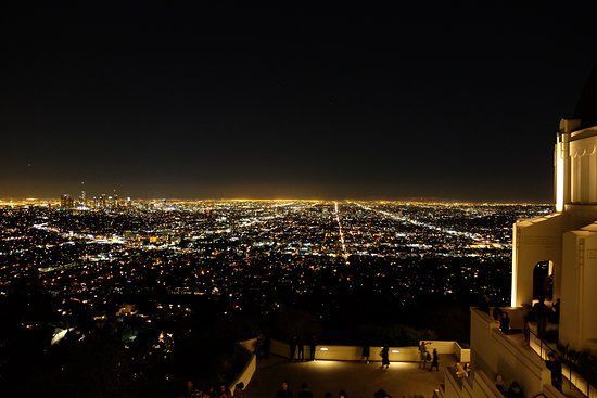We got close to the edge and looked down at the city lights