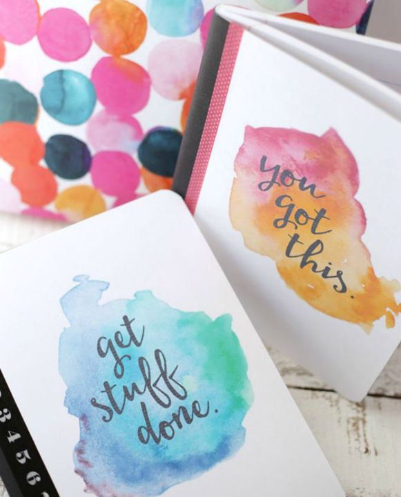 HINT: you can always print a style that is watercolored and that has the quote and just glue it onto your notebook -- this way is probs the way I would go, tbh