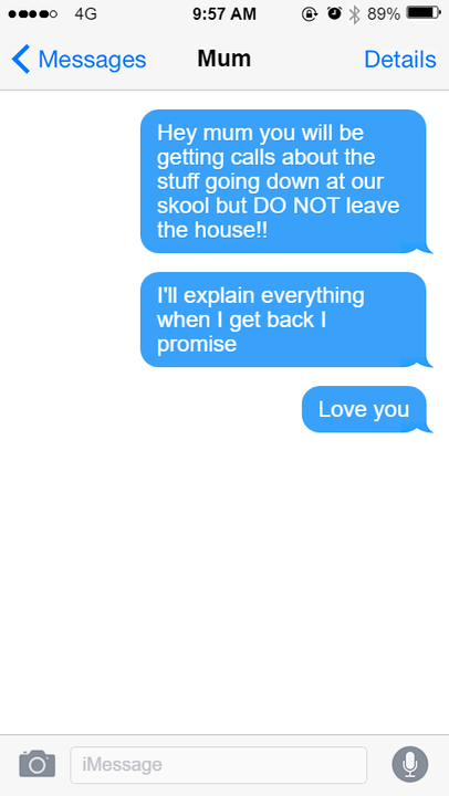 But first I gotta text my mum and Amber