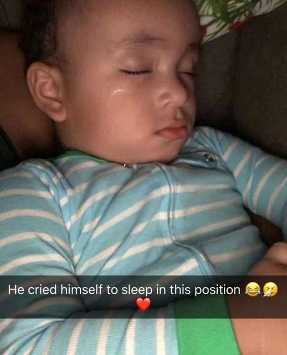 """""""Dominic chill out"""" I said cause I was staring to get irratated he just kept crying until the room feel silent and Carl came out of the bathroom and said """"He's asleep"""" i grabbed my phone and took a picture and that lil boy was gone"""