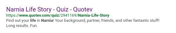 Fandom OC's - Narnia Life Quiz: Results - Wattpad