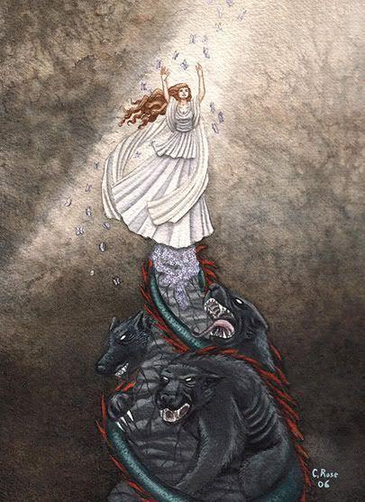 La joven doncella, que en un principio se llamaba Kore (Κόρη, 'doncella), cambió su nombre por el de Perséfone cuando fue raptada por  y convertida en la reina del Inframundo