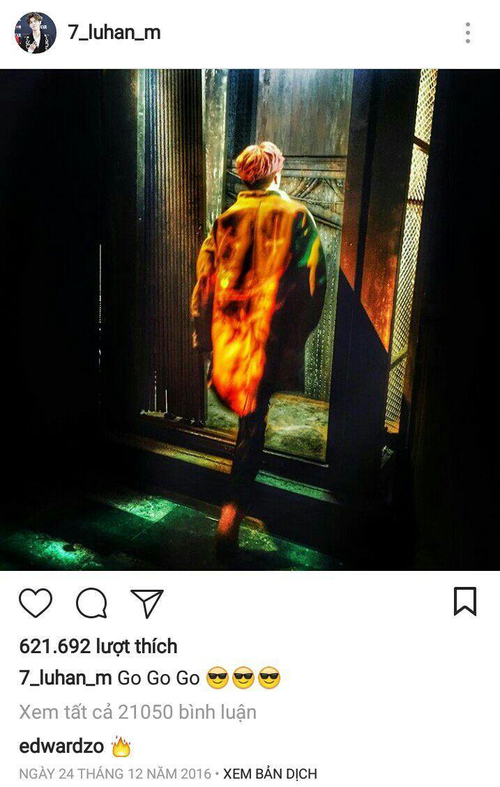 """Đó là một bức ảnh với trang phục trong MV """"On Fire"""" của Luhan"""