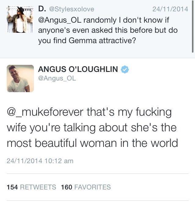 2- Someone asks Angus if he finds Gemma attractive, and he responds