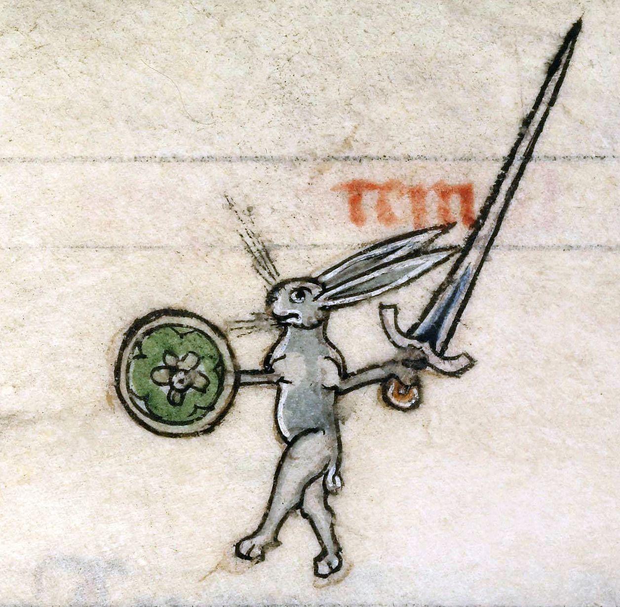 Drôlerie (enluminure marginale), extraite de Vincent de Beauvais (1184?–1264), Speculum historiale, France, vers 1294-1297, conservé à Boulogne-sur-Mer, Bibliothèque municipale, ms